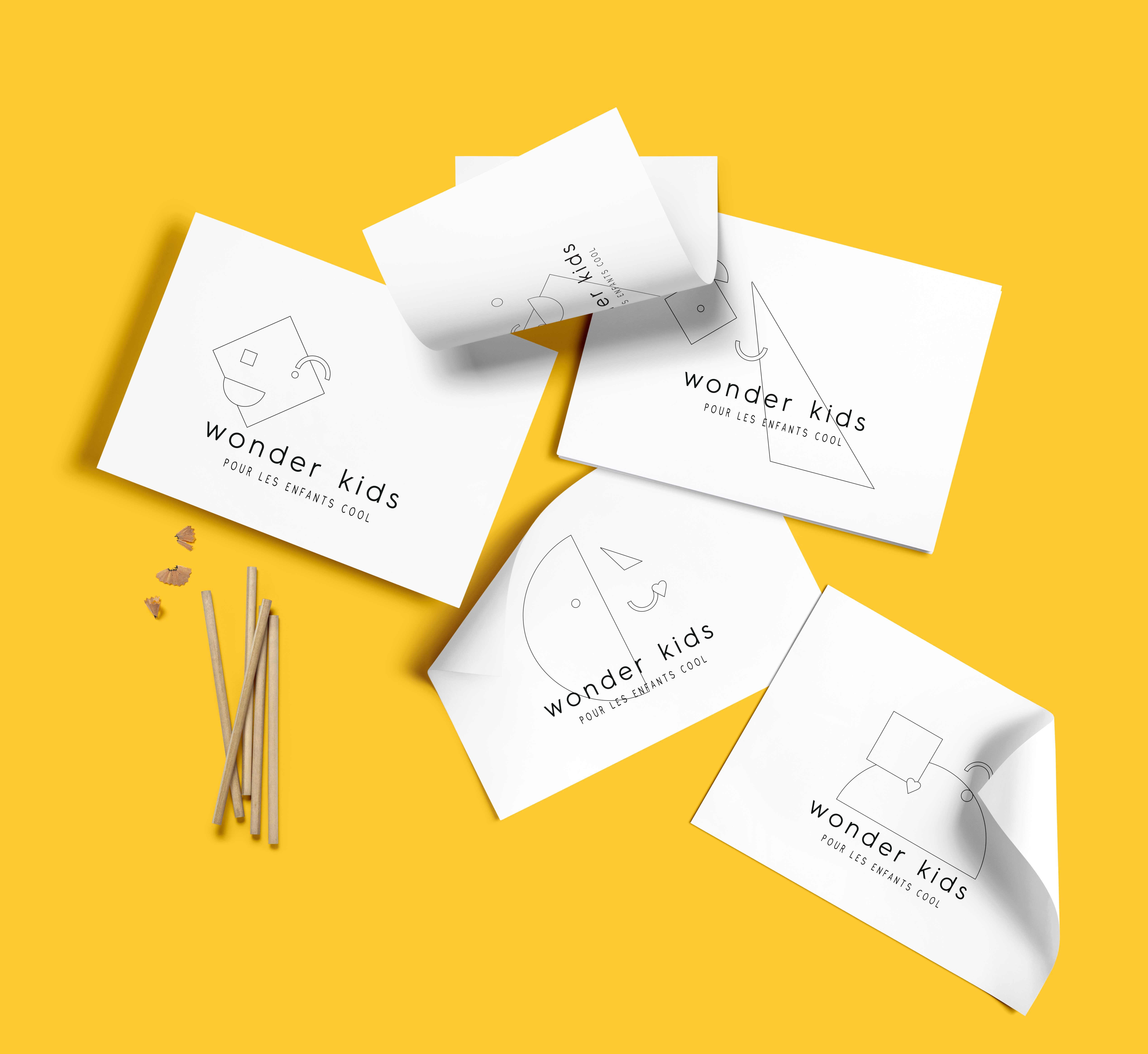nouvelle identité graphique pour le magasin pour enfant wonderkids à Charleroi par Studio Fifty Fifty