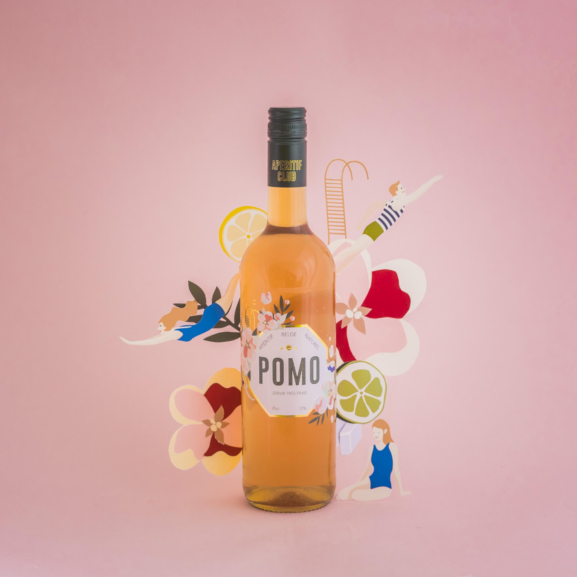 pomo, aperitif, 100% belge, habillage bouteille, packaging, branding,