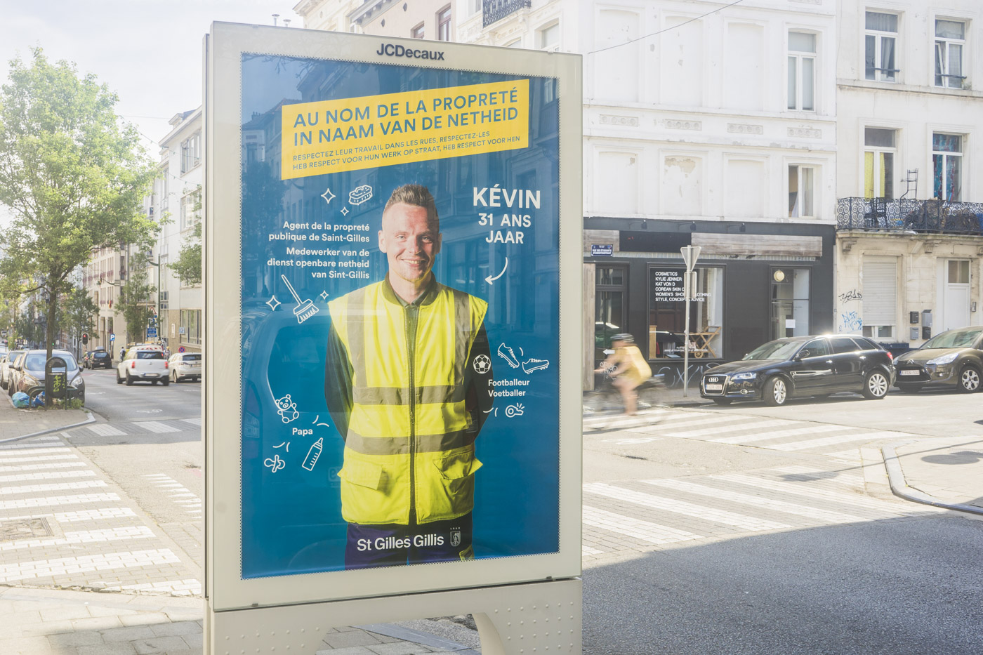 Saint Gilles, propreté, communication campaign, commune, cleaning agent, OOH, out of home campaign